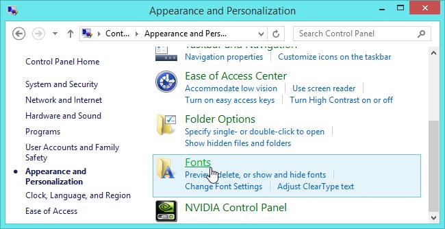 fuentes en Windows