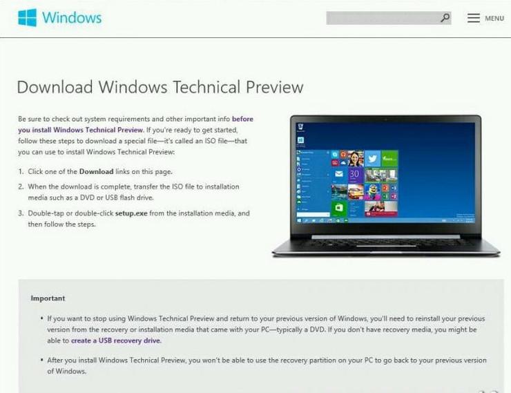 Previa Técnica de Windows
