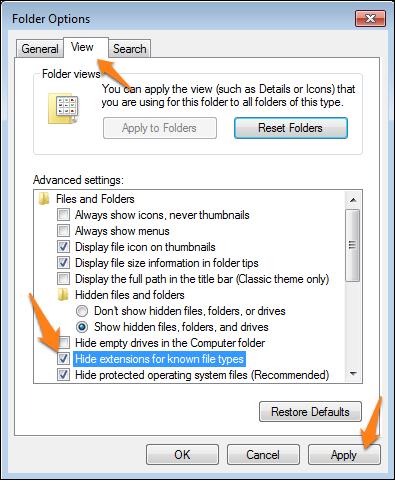 las Extensiones de Archivo en Windows