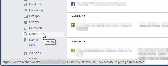 Historia de Búsqueda en Facebook