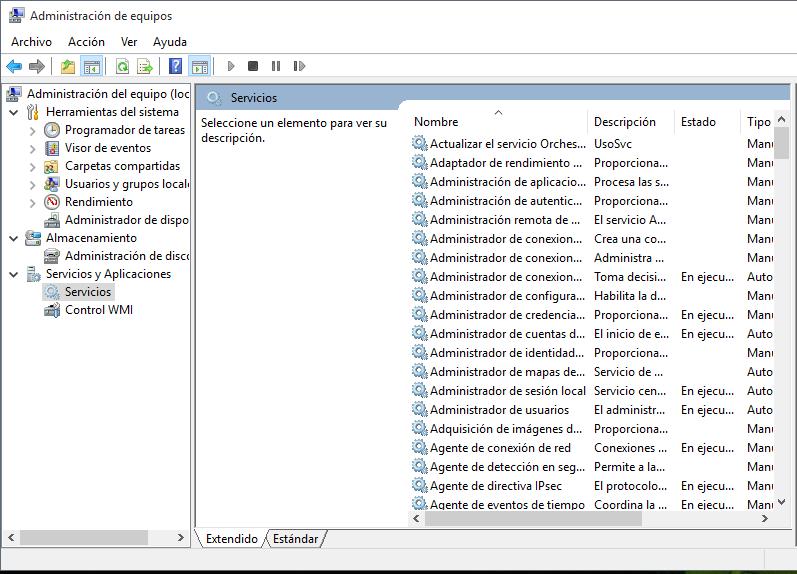 Servicios de Windows 10