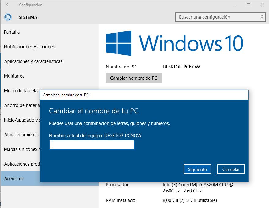 Cambiar el Nombre de PC en Windows 10