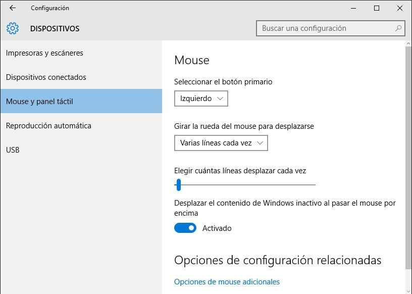 Mouse en Windows 10